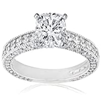 2 Ct Cushion Cut Diamond Engagement Ring Pave Set W Milgrain 14K GOLD SI1 GIA from Fascinating Diamonds