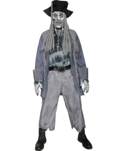 Smiffy's Men's Zombie Ghost Pirate Costume Top Trousers Hat with Dreadlocks Mask and Gloves, Grey, Large