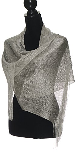 Sheer Glitter Sparkle Shawl Wrap Fringe Prom Weddings Evening Scarfs for Women