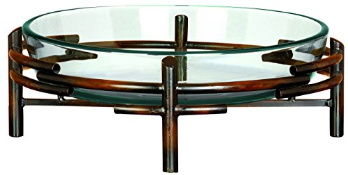 Deco 79 Glass Bowl Metal Stand, 18 by 6-Inch