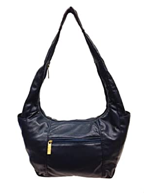 LIGHTWEIGHT BACK FRIENDLY Lambskin Leather Hobo Handbag Purse in Supple Navy
