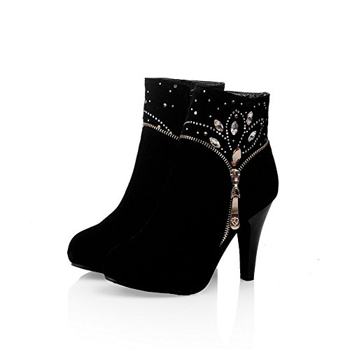 Vogue001 Womens Closed Round Toe High Heel Imitated Suede Frosted Solid Boots With Glass Diamond, Black, 35