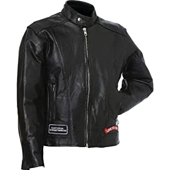 Diamond Plate Rock Design Genuine Buffalo Leather Motorcycle Jacket (Large)