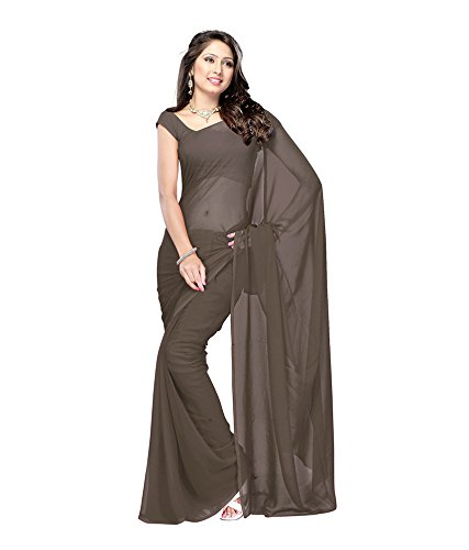 Lovely Look Latest collection of Plain Sarees in Georgette Fabric & in attractive Gray Color