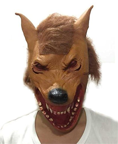 AnVei-Nao Mens Yellow Wolf Horror Full Headgear Latex Mask Costume Halloween