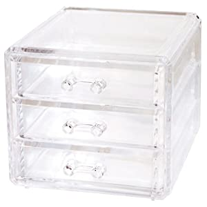 Promobo coffret boite bijoux rangement 3 tiroirs luxe acrylique blanc bijoux - Rangement tiroir acrylique ...