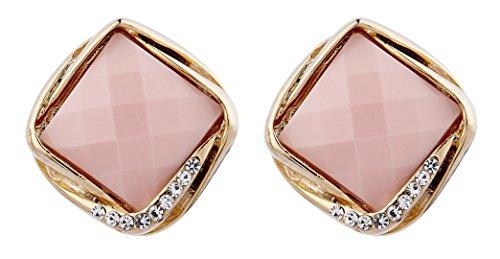 Clip su orecchini - placcato orecchino d'oro con una pietra rosa e cristalli - Betty P di Bello London