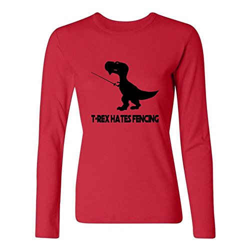 [Girl T-Rex Hates Fencing Crew Neck Long-Sleeve Shirts] (Making A T-rex Costume)