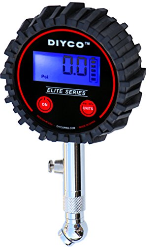 DIYCO Elite Series Professional Digital Tire Pressure Gauge, Lighted Led Lcd Display, Stub Style (Low Pressure Schrader Valve Gauge compare prices)