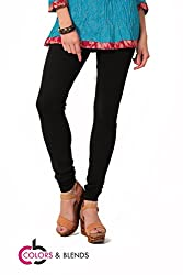 Women's solid Black Cotton-Lycra Leggings/Churidars