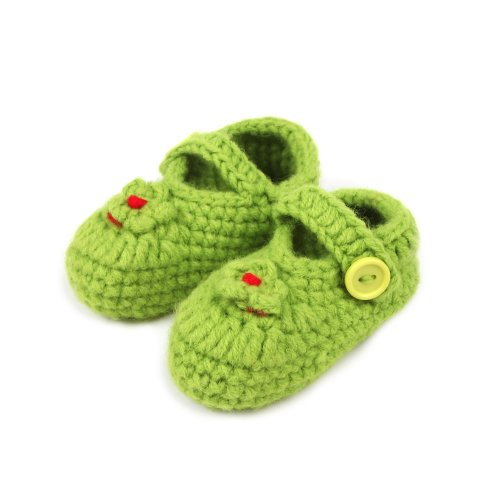 Touch Cute Knitted Flower Crochet Casual Shoes Prewalker Baby Girl Gift (Green) front-33850