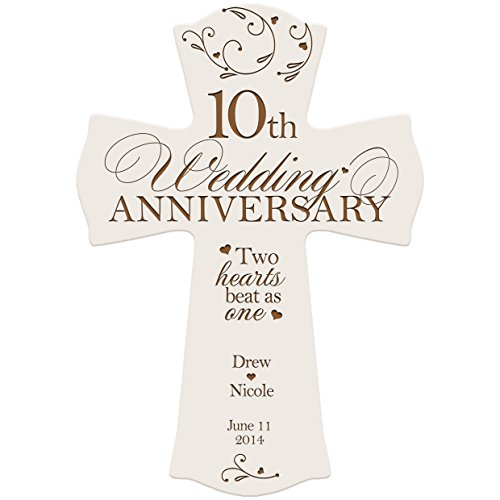 Personalized 10th Wedding Anniversary Wood Wall Cross Gift for Couple ...
