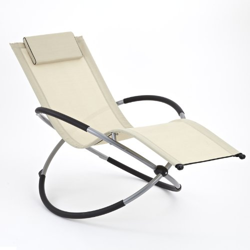 Zen Sun Lounger Rocker Chair In Beige Folding Garden Rocking Chair Suitable  For Both Indoor Part