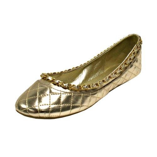 Gold Quilted Ballet Flat With Gold Chain Trim Size 7