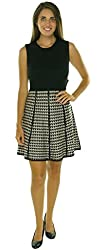 Calvin Klein White Houndstooth Large Petite Sweater Dress