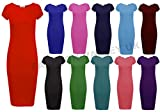 New Womens Ladies Jersey Midi Dress Plain Bodycon Cap Sleeve Size 8-14