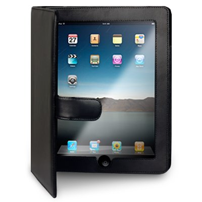 APPLE IPAD PREMIUM SOFT WALLET CASE - BLACK WITH STAND PART OF THE QUBITS ACCESSORIES RANGE