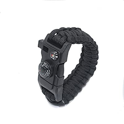 OmeGod Multi-tools Paracord Bracelet, 7-Strand 550 Paracord Bracelet with Fire-Starter, Scraper, Whistle, Compass and Thermometer, Screwdriver, Bottle Opener, Box Wrench, Nail File + Saw (Black)