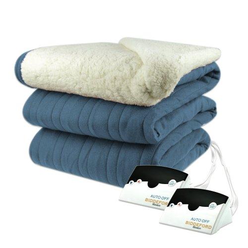 Biddeford 2024-905291-500 Heated Knit Microplush Blanket, King, Denim