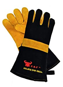 G & F 8113 Best of Barbecue and Fireplace Leather Gloves with 15-Inch Extra Long Sleeve