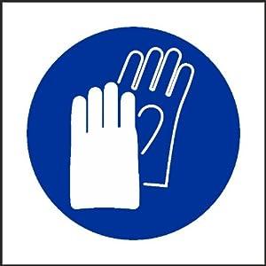 100mmx100mm Wear Gloves (Self Adhesive Sticker Label Sign) VAT ...