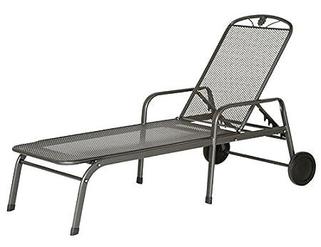 Siena Garden 680154 Saseo - Tumbona reclinable con ruedas (acero), color gris
