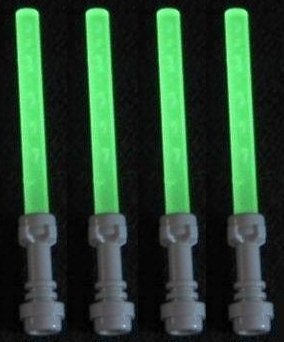 Lego Lightsaber Lot of 4: Glow-in-the-Dark Lightsabers with Hilts - 1