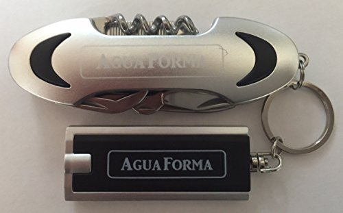 AguaForma Multifunction Stainless Steel Army Pocket Knife Set ✮ Includes Powerful LED Penlight Key Ring ✮ Best Combination of Versatility,