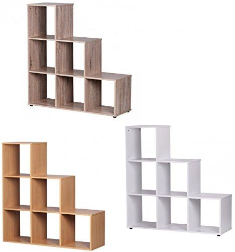 FineBuy-Leo-Stufenregal-6-Fcher-Raumteiler-klein-Treppenregal-Raumtrenner-Regal-fr-Dachschrge-Bcherregal-Holz-mit-Stufen-110cm-breit-335cm-tief-1107540cm-hoch-freistehend-3-Stufen-Wei