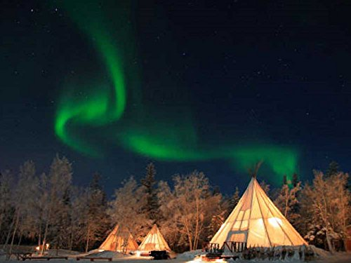 Northern Lights, Yellow Knife, Canada. - Art Print On Canvas (24X16 Inches, Unframed)