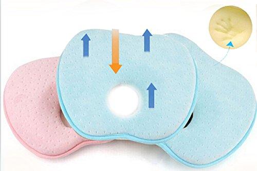 Happy Cherry Babykopfkissen gegen Plattkopf / Baby Kopfkissen gegen Verformung des Hinterkopfs / Babykissen aus Memory Foam für den Halswirbel, Viskoelastischer Schaum - Hellblau -