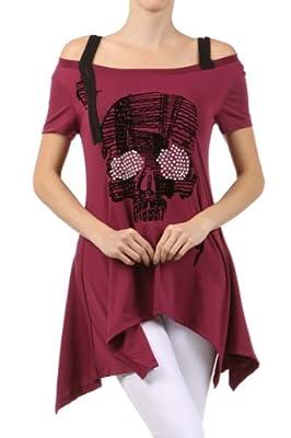 SJ STYLE Trendy Rhinestone Skull Print Casual Top Shoulder Strap - 3 Colors