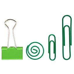 JAM Paper® Green Office Clip Assortment Pack - Binder Clips, Round Paper Cloops and Paper Clips (Regular & Jumbo) - 1 Pack of Each Clip, 4 Pack Total