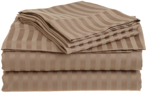 Impressions 1500 Series Wrinkle Resistant Twin Xl 3-Piece Sheet Set Stripe, Taupe front-165306