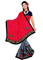 Tarang Women's Designer Georgette Embroidered Bollywood Saree with Blouse (Pink)
