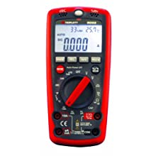Triplett 9055 Auto-Ranging, Average-Sensing Digital Multimeter with Sound Meter, Light Meter, Humidity and Ambient Temperature Meter, and Temperature Probe, 10 Amp, 600V, 40 Megaohms, 100 Microfarads, 10 MHz