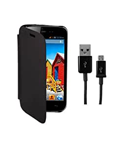 KolorEdge Flip Cover Plus Data Cable For MicroMax A115 Canvas -black