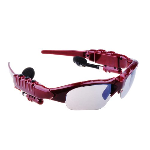 Patuoxun Bluetooth Sunglass Handsfree Headset With Music Player For Iphone5 4S Samsung Siii Samsung Siv Htc One M7 Red