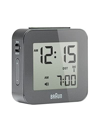 Braun Global Radio Controlled Travel Alarm Clock, Grey