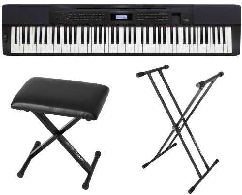 Casio Px350 Bk 88 Key Digital Piano Black W/Power Supply, Bench And Stand