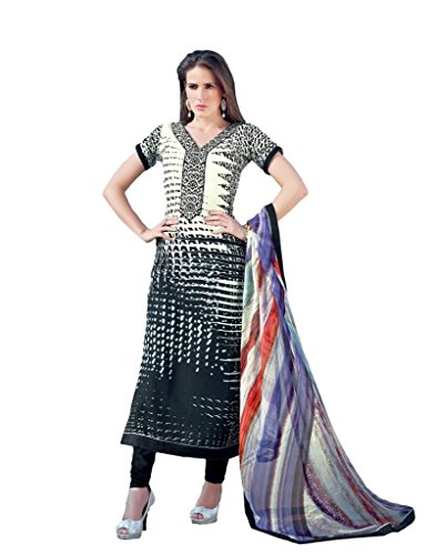 Pinkshink Crepe Black And White Dress Material | Kerala ...