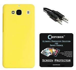 Chevron Matte Finish Back Cover Case for Mi Redmi 2 Prime with HD Screen Guard & Aux Cable (Yellow)