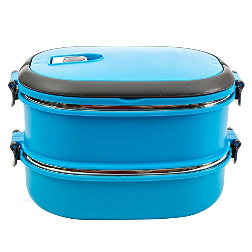 (Blue) Outdoor Portable Double Layers Bento Lunch Box Lunchbox Microwave Food Container Large Meal Boxes Dinnerware Tableware 1800ml (Hard Cover Fix And Freeze compare prices)
