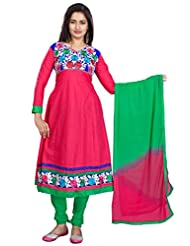 Suchi Fashion Pink And Green Cotton Embroidered Semi Stitched Suit