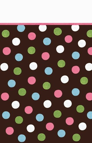 "Disposable Plastic Lined, Paper Table Cover in Chocolate Multicolored Polka Dots Fits 8' Tables, 54 x 102"", Brown"