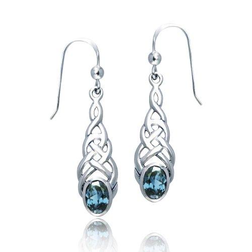 Bling Jewelry Celtic Knotwork Oval Blue Topaz Sterling Silver Dangle Earrings
