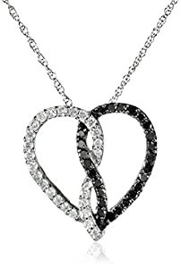 10k White Gold Black and White Diamond Heart Pendant Necklace (1/2 cttw) 18
