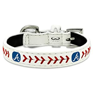 MLB Atlanta Braves Classic Leather Baseball Dog Collar (Small)