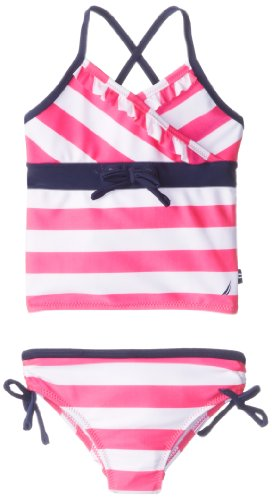 Nautica Little Girls' Stripe Tankini 2, Intense Pink, 2T back-980748