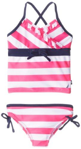 Nautica Little Girls' Stripe Tankini 2, Intense Pink, 2T front-1065219